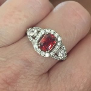 Ruby & White Topaz Ring - Size 10